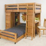 Wooden Loft Bed With Futon And Desk