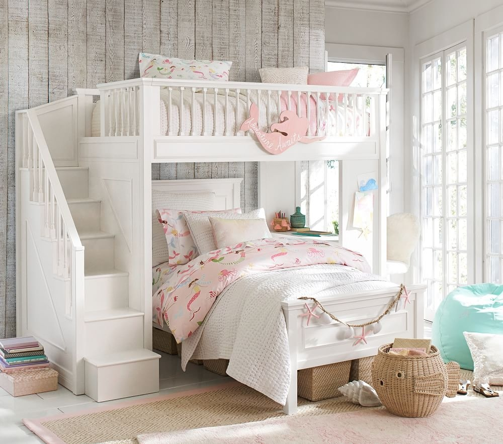 Beautiful White Twin Bunk Beds For Girls
