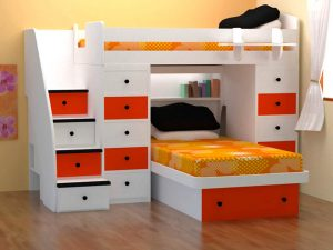 Beautiful White Red Small Bunk Beds